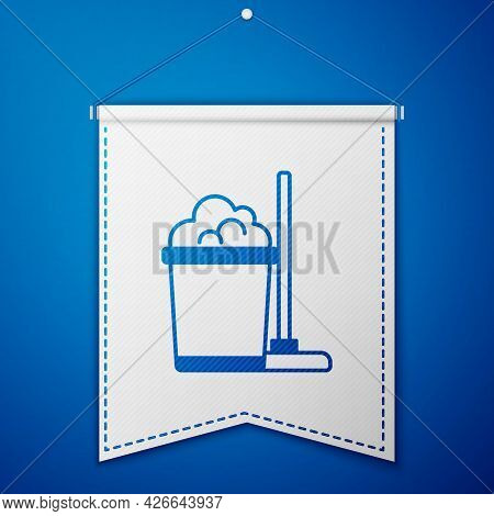 Blue Mop And Bucket Icon Isolated On Blue Background. Cleaning Service Concept. White Pennant Templa