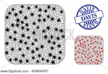 Mesh Polygonal Rounded Square Symbols Illustration In Infection Style, And Rubber Blue Round Davis S