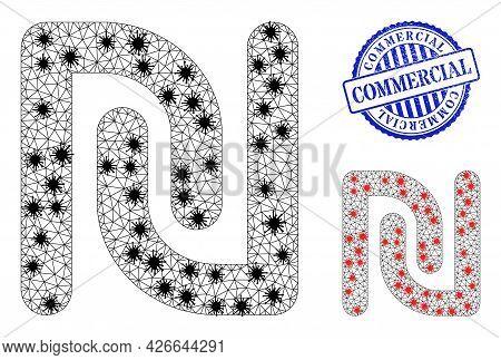 Mesh Polygonal Shekel Currency Symbols Illustration Designed Using Infection Style, And Grunge Blue