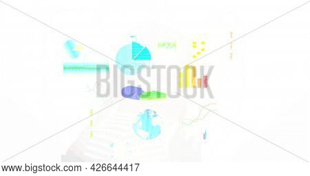Digitally generated image of digital interface with data processing against white background. computer interface and technology concept