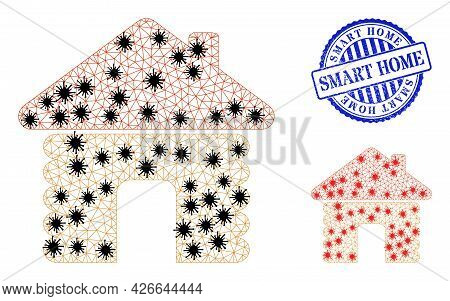 Mesh Polygonal Wooden House Icons Illustration With Lockdown Style, And Rubber Blue Round Smart Home