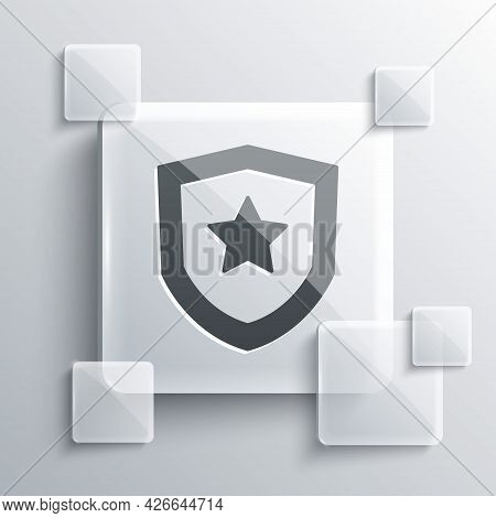 Grey Police Badge Icon Isolated On Grey Background. Sheriff Badge Sign. Square Glass Panels. Vector