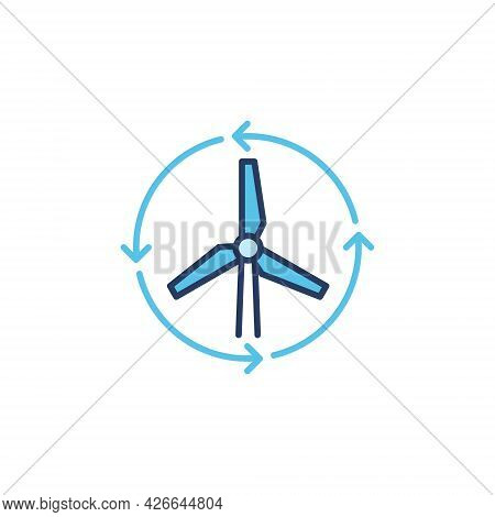 Wind Turbine Colored Icon - Wind Energy Vector Sign