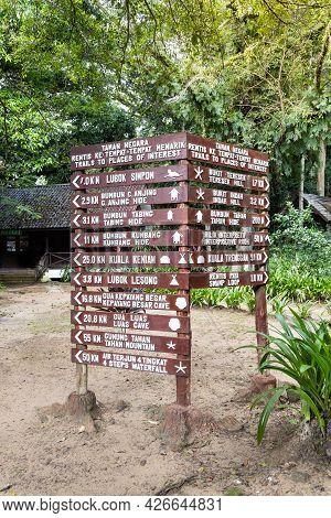 Directional Milespost Signage Of Attraction At Taman Negara National Park, Pahang