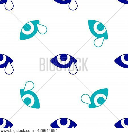 Blue Tear Cry Eye Icon Isolated Seamless Pattern On White Background. Vector
