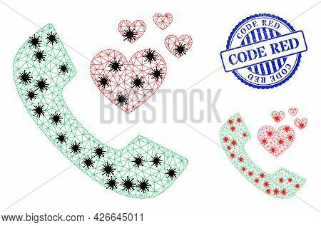 Mesh Polygonal Lovely Phone Receiver Symbols Illustration In Infection Style, And Rubber Blue Round