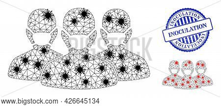 Mesh Polygonal Mask People Group Symbols Illustration In Infection Style, And Grunge Blue Round Inoc