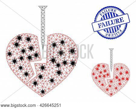 Mesh Polygonal Crack Love Heart Icons Illustration With Outbreak Style, And Scratched Blue Round Fai