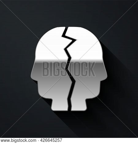 Silver Bipolar Disorder Icon Isolated On Black Background. Long Shadow Style. Vector