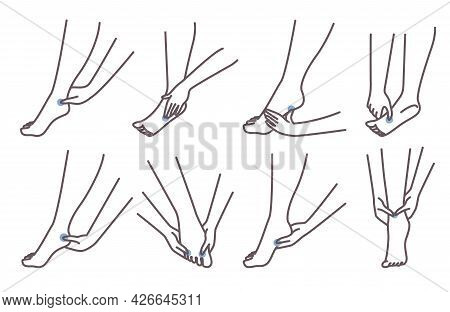 Acupressure Foot Massage Technique. Female Character Pressing Points On Feet, Vector Illustration. C