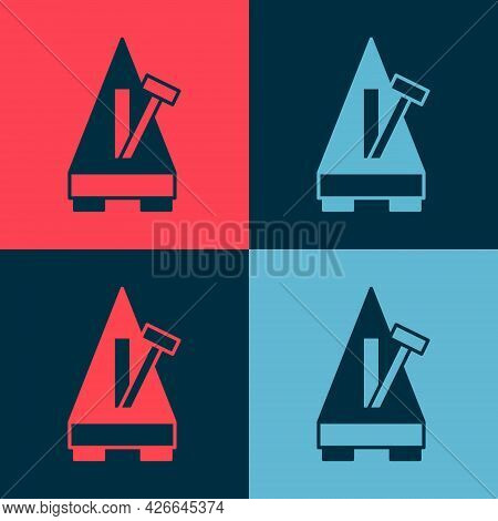 Pop Art Classic Metronome With Pendulum In Motion Icon Isolated On Color Background. Equipment Of Mu