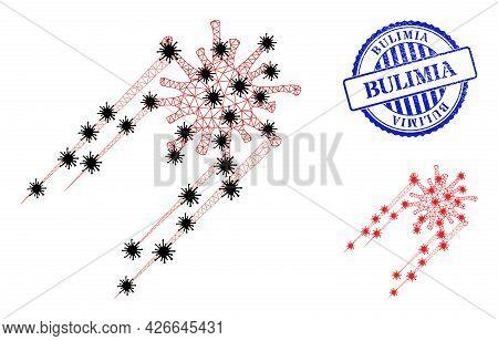Mesh Polygonal Rush Covid Virus Icons Illustration Designed Using Lockdown Style, And Distress Blue