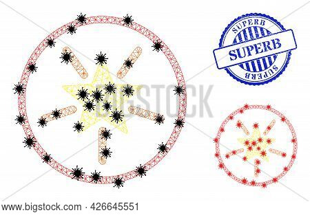 Mesh Polygonal Rounded Shine Star Symbols Illustration With Lockdown Style, And Scratched Blue Round