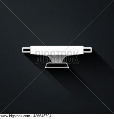 Silver Skateboard Wheel Icon Isolated On Black Background. Skateboard Suspension. Skate Wheel. Long