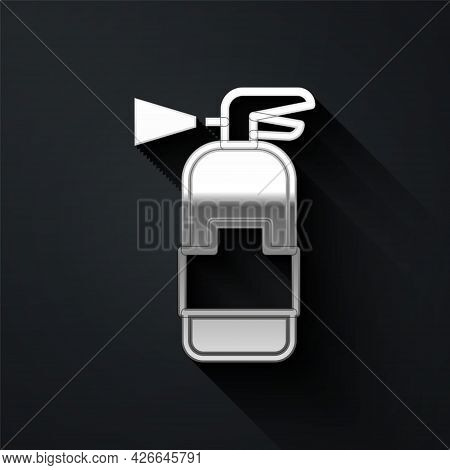 Silver Fire Extinguisher Icon Isolated On Black Background. Long Shadow Style. Vector