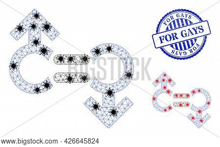 Mesh Polygonal Gay Relation Symbol Icons Illustration With Infection Style, And Scratched Blue Round
