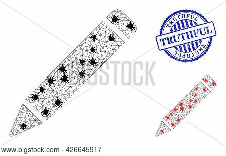Mesh Polygonal Pencil Symbols Illustration With Lockdown Style, And Grunge Blue Round Truthful Stamp