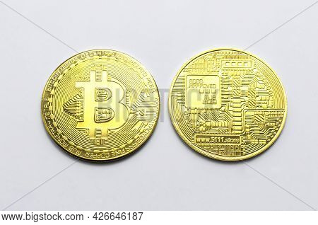 Bitcoin Btc Crypto Currency Gold Coins On White Background, New Virtual Money Concept. Mining Or Blo