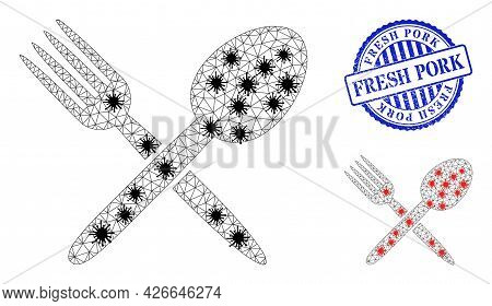 Mesh Polygonal Spoon And Fork Icons Illustration In Infection Style, And Grunge Blue Round Fresh Por