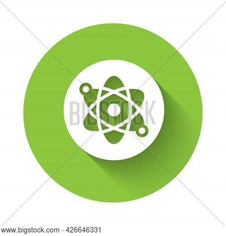 White Atom Icon Isolated With Long Shadow Background. Symbol Of Science, Education, Nuclear Physics,