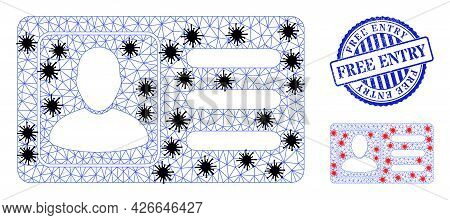 Mesh Polygonal User Account Card Symbols Illustration In Infection Style, And Distress Blue Round Fr