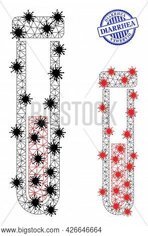 Mesh Polygonal Blood Test-tube Symbols Illustration With Infection Style, And Grunge Blue Round Diar