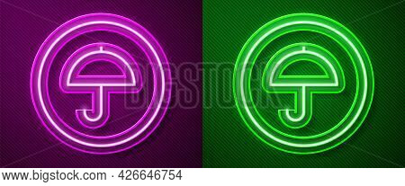 Glowing Neon Line Delivery Package With Umbrella Symbol Icon Isolated On Purple And Green Background