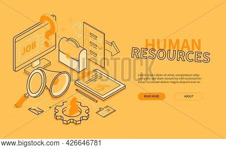 Human Resources - Yellow Line Design Style Isometric Banner