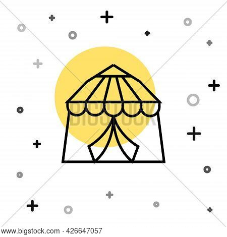 Black Line Circus Tent Icon Isolated On White Background. Carnival Camping Tent. Amusement Park. Ran