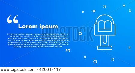 White Line Attraction Carousel Icon Isolated On Blue Background. Amusement Park. Childrens Entertain