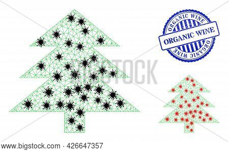 Mesh Polygonal Fir Tree Icons Illustration In Lockdown Style, And Rubber Blue Round Organic Wine Sta