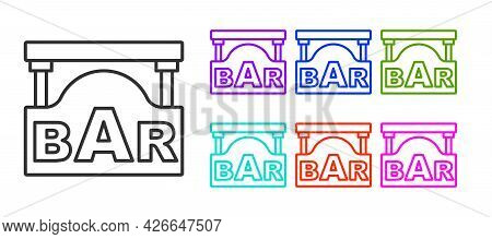 Black Line Street Signboard With Inscription Bar Icon Isolated On White Background. Suitable For Adv