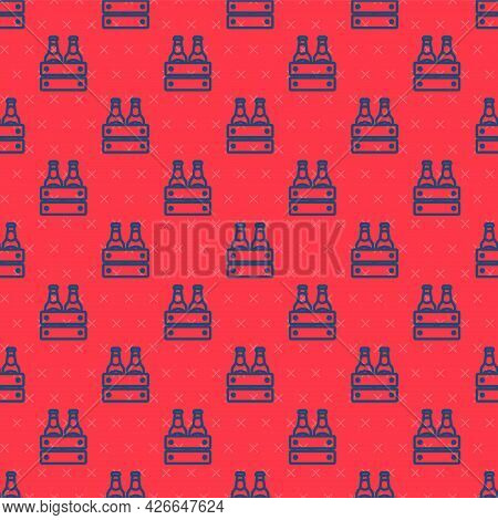 Blue Line Pack Of Beer Bottles Icon Isolated Seamless Pattern On Red Background. Wooden Box And Beer
