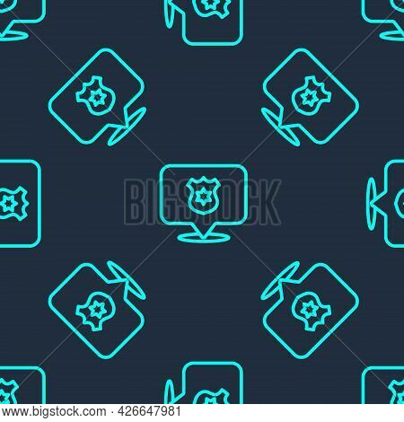 Green Line Police Badge Icon Isolated Seamless Pattern On Blue Background. Sheriff Badge Sign. Vecto