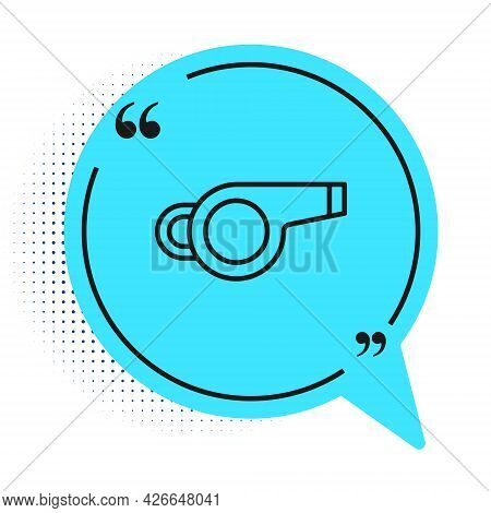 Black Line Whistle Icon Isolated On White Background. Referee Symbol. Fitness And Sport Sign. Blue S