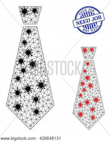 Mesh Polygonal Male Tie Symbols Illustration With Outbreak Style, And Scratched Blue Round Need Job