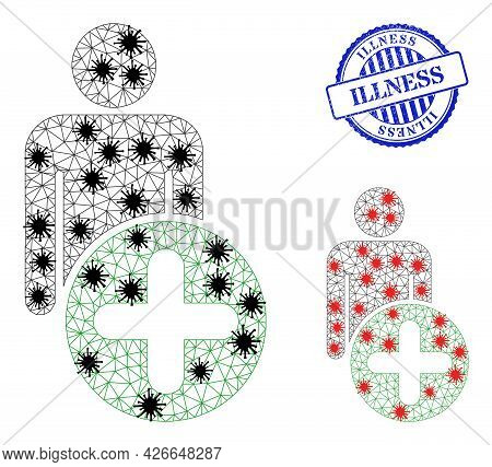 Mesh Polygonal Add Man Figure Icons Illustration In Lockdown Style, And Distress Blue Round Illness