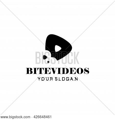 A Very Unique And Original Logo, A Combination Of Video And Bite Icons. Eps10, Vector.