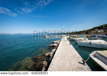 One Of The Two Small Ports Of The Village Of Lazise, Tourist Resort On The Coast Of Lake Garda (lago