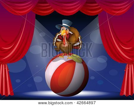 Illustration of a turkey performing on stage with a ball