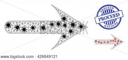 Mesh Polygonal Forward Arrow Symbols Illustration With Infection Style, And Scratched Blue Round Pro