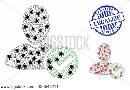 Mesh Polygonal Valid User Icons Illustration With Infection Style, And Grunge Blue Round Legalize Ba