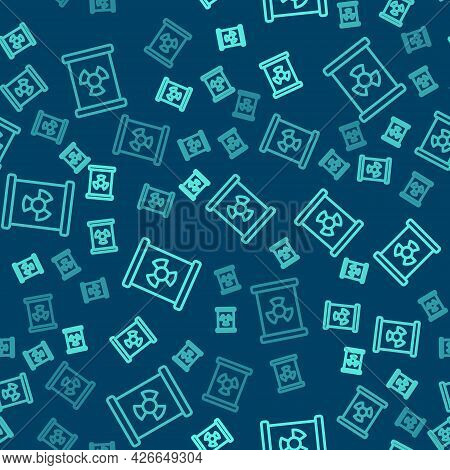 Green Line Radioactive Waste In Barrel Icon Isolated Seamless Pattern On Blue Background. Toxic Refu