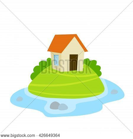 Village House. Home On Green Hill And Road. Flat Cartoon Illsutration. Rural White Building With Red