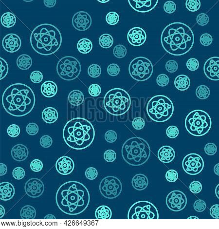 Green Line Atom Icon Isolated Seamless Pattern On Blue Background. Symbol Of Science, Education, Nuc