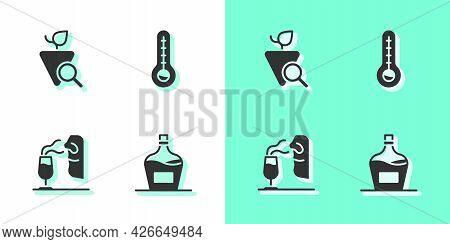 Set Old Bottle Of Wine, Grapes, Sommelier And Meteorology Thermometer Icon. Vector
