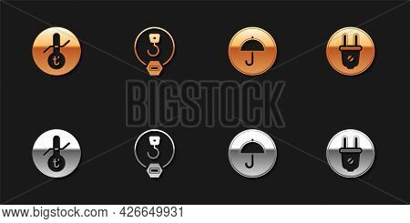 Set Meteorology Thermometer, Industrial Hook, Delivery Package With Umbrella And Electric Plug Icon.