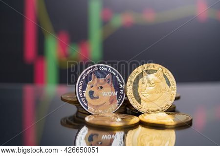 Dogecoin Doge Group Crypto Currency Symbol And Stock Chart Candlestick Up Trend Win Stock Defocused