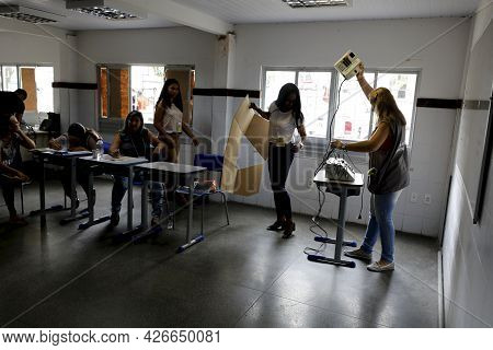 Polling Place During Elections In Salvador