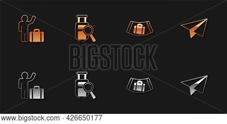 Set Tourist With Suitcase, Lost Baggage, Conveyor Belt And Paper Airplane Icon. Vector